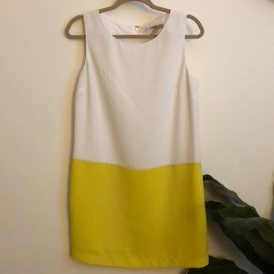 Yellow & White Color Block Shift Dress